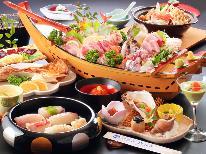 【鮨屋の舟盛り】あわび・さざえ入り♪旬のお刺身を豪華舟盛で!海鮮ちゃんこ鍋もついてボリューム満点!