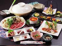 会津名物!馬刺しの食べ比べ♪馬刺し3点盛り×桜鍋★創作料理と源泉かけ流しを満喫
