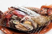 【直予約価格】◆伊勢海老とアワビの原価?しらね~よ。そんなもんw◆伊勢海老&アワビ付海鮮炭火焼DX