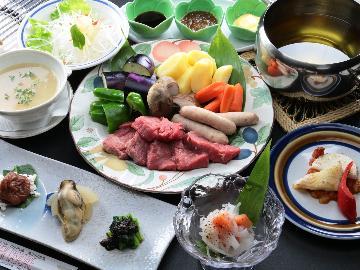 【グレードアップ】笠岳特製『オイルフォンデュ』♪絶品の旬食材を味わえる 贅沢な一時。【1泊2食付】