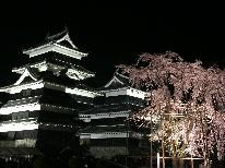 ★【松本城★お花見プラン】春の桜とおすすめ地酒に酔いしれよう♪夜桜会まで送迎付!【1泊2食付】