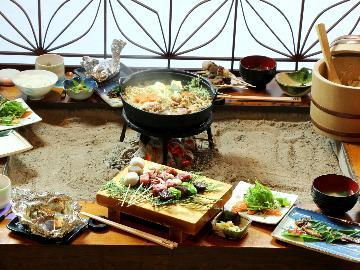 【グレードアップ】ジビエのフルコース♪炉端焼き&鍋で木曽の味を味わい尽くす