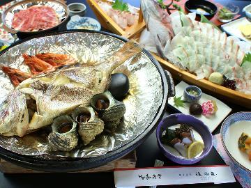 明石鯛が丸ごと1匹★舟盛り&鯛の宝楽焼プラン(1泊2食付)【あいたい兵庫】<淡路>