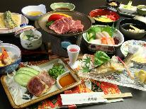 【グレードアップ】欲張り♪【和牛&地鶏】の陶板焼き付き季節の会席料理