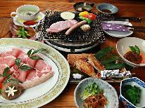 ◆おためしコース◆柔らかジューシーな美明豚の炭火焼き&奥久慈しゃも料理をリーズナブルに♪【貸切風呂】