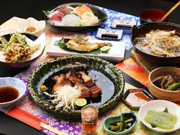 【グレードアップ】赤城ポークの角煮&上州里山料理を味わう!〈無料貸切風呂&個室食〉