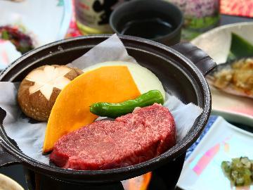 【かずさ牛ステーキ】千葉のブランド牛をアツアツの陶板焼きでいただく◆黒湯温泉に浸かる贅沢な時間