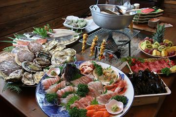 【一日一組限定】新鮮な魚介類を囲炉裏でおもてなし彡 ~高級食材アワビ・カキ・ホタテ 他~
